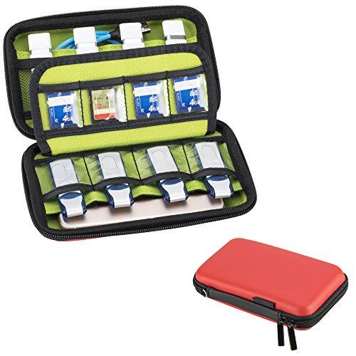 LUWANZ USB Sticks Tasche, Festplattentasche 2.5 Zoll / Aufbewahrungstasche für Festplatte, Organizer für SDKarte,Speicherkarten, Ladekabel etc (1Stk., Rot) Kleine Memory Card Case