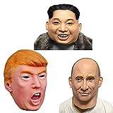 Fayoo Halloween Donald Trump Mask-Republikanische Präsidentschaftskandidat Maskiert Russischen Präsidenten Wladimir Putin Maske Kim Jong Un Maske 3In 1