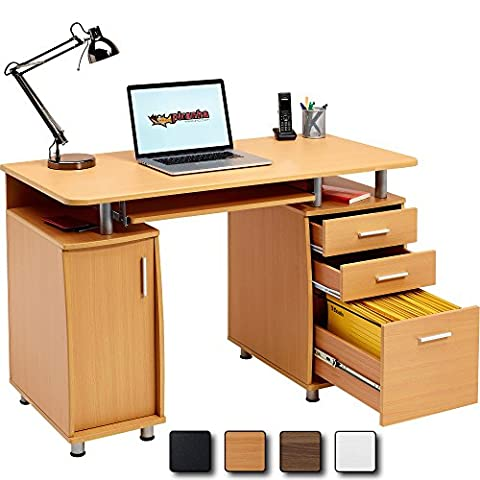 Large Computer and Writing Desk with A4 Filing, 2 Stationery Drawers and Cupboard for the Home Office in Beech - Piranha PC 2b