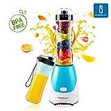 Aigostar Summer 30IWW - Mix and Go Personal sport con 2 bottiglie viaggio da 600ml, BPA FREE, 300W. Color azzurro