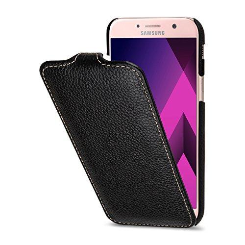 Flip Aus Leder (StilGut UltraSlim Case Hülle Leder-Tasche für Galaxy A5 (2017). Dünnes Flip-Case vertikal klappbar aus Echtleder für das Original Galaxy A5 (2017), Schwarz)