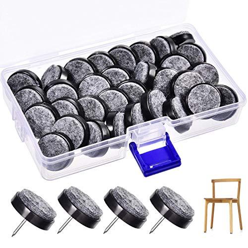 Lvcky 36Stück Furniture Pad Nägel 24mm schwarz Nail-on Slider Glide Filzgleiter mit Aufbewahrungsbox für Möbel Stuhl, Hocker und Tisch Bein Füße aus Holz