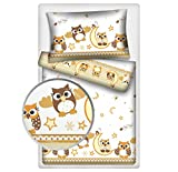Kinderbettwäsche Eulen 2-tlg. 100% Baumwolle 40x60 + 100x135 cm mit Reißverschluss (beige)