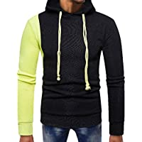 Yvelands Mens Fashion Sweatshirt con Capucha Empalme Pocket Pullover Manga Larga Slim Fit Tops Blusa.