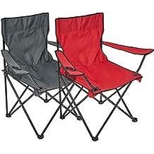 Silla plegable, 2 unidades, silla de camping con soporte para bebidas en reposabrazos, gris/rojo