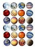 Lot de 24 décorations pour gâteaux 4 cm sur glaçage-ND1 espace Planètes du système solaire