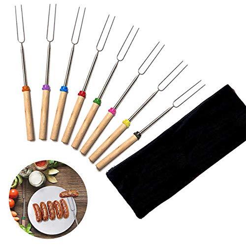 8 Stück Marshmallow Braten Smores Sticks & Hot Dog Gabel 32 Zoll-Kinder Camping Zubehör für Lagerfeuer Feuerstelle Kochen - Kostenlose Aufbewahrungstasche Ebook -