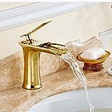 XBR All copper, golden bathroom faucet, basin faucet, gold faucet, waterfall faucet