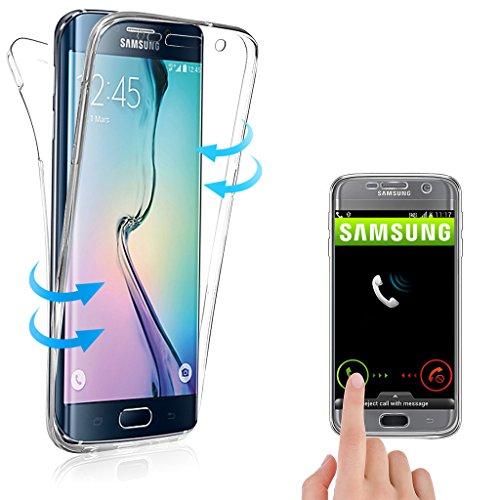 Coque 360° Compatible avec Samsung Galaxy S6 Edge Plus, Housse en Silicone TPU Protection Total Avant + Arriere, Anti-Rayures, Anti-Choc, Transparent