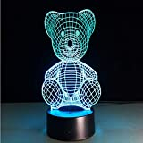 Grave e bella Teddy Bear 3D USB LED Lampada da tavolo Night Light Home Compleanno Regali di Natale Regali Camera da letto per bambini Sleeping Decor