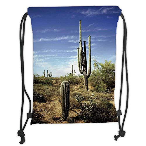 Fashion Printed Drawstring Backpacks Bags,Saguaro Cactus Decor,Tall Saguaro Cactus with Spined Leaves Desert Plants Sunny Day Picture Print,Blue Green Soft Satin,5 Liter Capacity,Adjustable String -