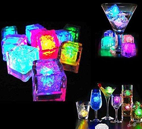 CDQ Multicolor [Eiswürfel Licht]?12Stück Dekorative LED Liquid Sensor Eiswürfel Form Lichter tauchfähiges LED-Licht Glow bis für Bar Club Hochzeit Party Champagner Turm Dekoration Flash Light - 12