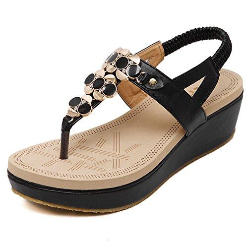 DCRYWRX Frauen Strass Wedge Sandalen Thong Sandalen Kuchen mit Toe Schuhe Wulstige Böhmische Sommerschuhe,Black,38 Tan Thong Sandalen