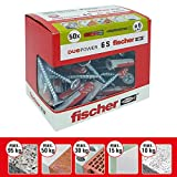 Fischer 50 Tasselli Duopower con Vite, 6 x 30 mm, per Muro pieno, Mattone Forato, Cartongesso, 544016