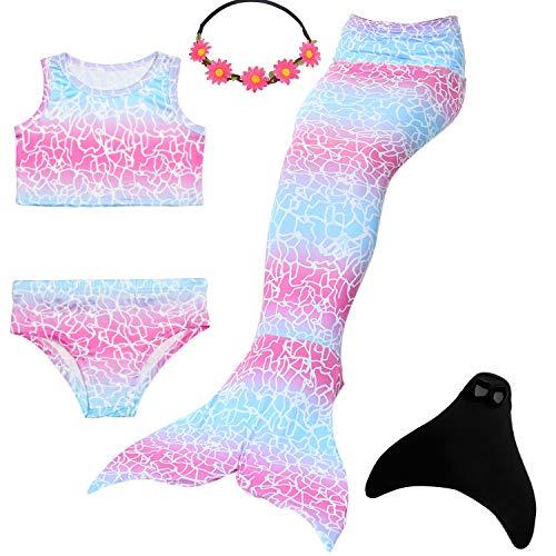 UrbanDesign Meerjungfrau Flosse Zum Schwimmen Flossen Für Mädchen Kinder Mit Bikini, 11-12 Jahre, Rosa Himmel