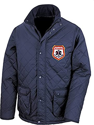 FDNY Quilted Jacket New York City Fire Dept. with Embroidered Paramedic Emblem blue blue Size:XXL