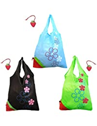 Wrapables Reusable Folded Into A Strawberry Shopping Tote Bag, Green/Black/Blue, Set Of 3