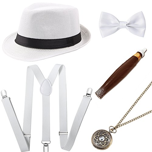 Coucoland 1920s Herren Accessoires Mafia Gatsby Kostüm Set inklusive Panama Gangster Hut Verstellbar Elastisch Hosenträger Herren Halsschleife Fliege Taschenuhr und Plastik Zigarre (Weiß)