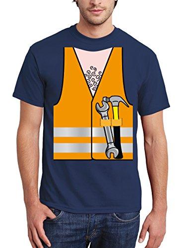 clothinx Herren T-Shirt Karneval Bauarbeiter Navy Größe XXL (Mann Bauarbeiter Kostüm)