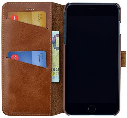 iPhone 8 PLUS / iPhone 7 PLUS | Suncase Book-Style (Slim-Fit) Ledertasche Leder Tasche Handytasche Schutzhülle Case Hülle (mit Standfunktion und Kartenfach) antik coffee burned - cognac