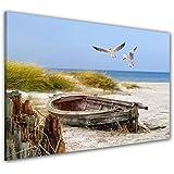 visario 4221 bilder auf leinwand bild 150 x 50 cm strand. Black Bedroom Furniture Sets. Home Design Ideas