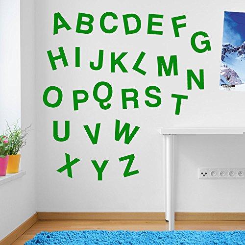Wandaufkleber für Kinderzimmer, Motiv: Alphabet / Buchstaben, Fenster-Aufkleber, ablösbar, Vinyl, All Green, Medium Set Windows-buchstaben-aufkleber