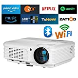 HD Smart LED LCD Home Theater Projector with Built-in Wifi and Bluetooth,WXGA Multimedia