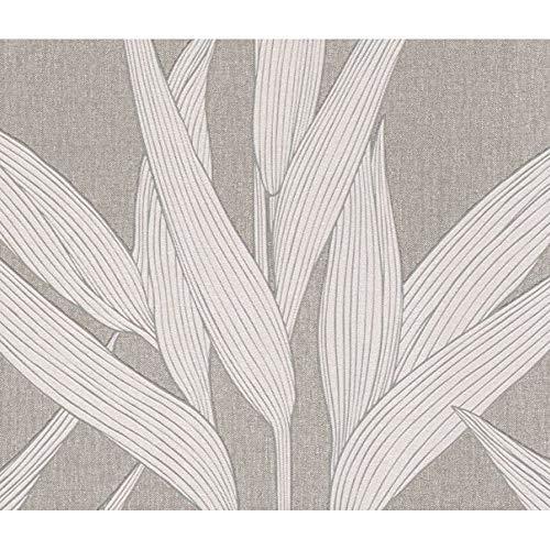 As Creation Hygge Skandinavisch Blatt Muster Strukturiertes Leinen Effekt Tapete - 361233 Beige