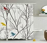Abakuhaus Duschvorhang, Vögel Wildtiere Cartoon Bild mit Baum Blatt Kunstdruck Stoff Hübsches Minimalistisches Design, Blickdicht aus Stoff mit 12 Ringen Waschbar Langhaltig Hochwertig, 175 X 200 cm