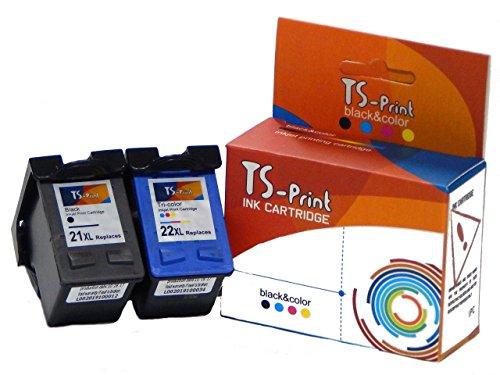 TS-Print Conjunto de 2 cartuchos de tinta compatibles con HP-21-XL negro black + HP-22-XL tri-colores tri-color
