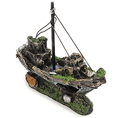 FENICAL Resin Fishing Boat Aquarium Ornament for Fish Tank Accessories 3