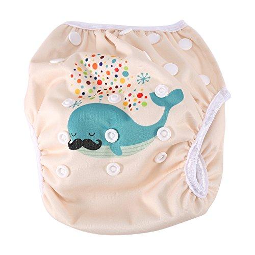 Baby-Schwimmwindel modische atmungsaktive Unisex Schwimmwindeln wiederverwendbare wasserdichte Schwimmhose mit Druckknöpfen Trainingshose für 3-15 kg Baby (DY2) (Trainingshose Funky)