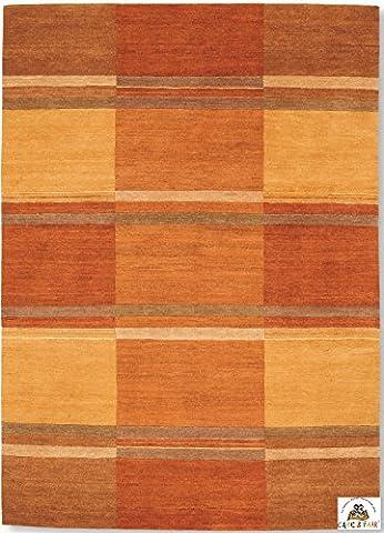 SANTA PIAZZA un tapis noué main du Népal laine orange Taille: 250x350 cm