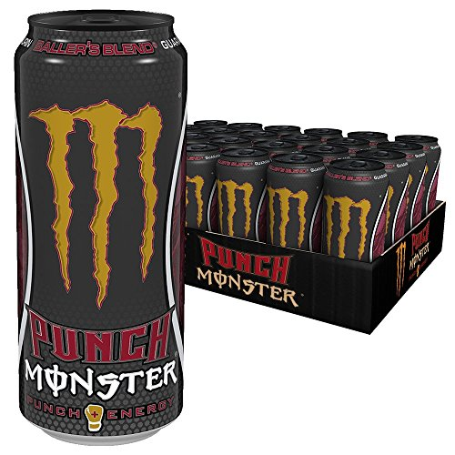 Monster Energy Punch - Tropical Juice Punch mit fruchtig süßem Geschmack, Energy Drink Palette, EINWEG Dose (24 x 500 ml) - Akzent Kirsche