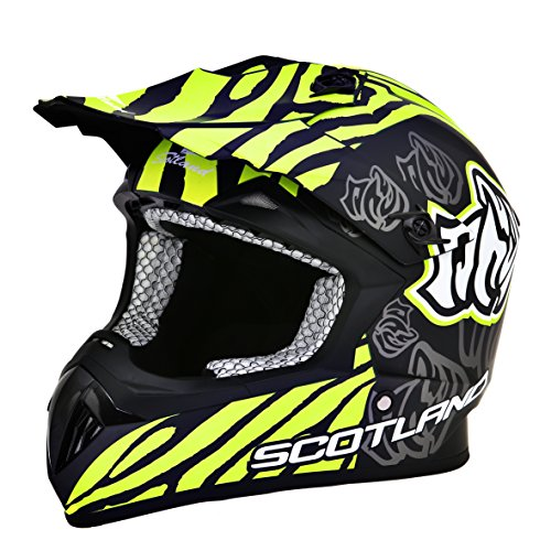 Scotland – Casco moto cross, negro mate, talla 57 – 58 (M)