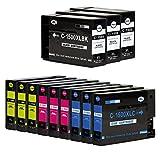 Liondo® 12er Multipack Drucker- / Tintenpatronen Kompatibel zu Canon Maxify PGI-1500 XL BK/C/Y/M MB-2000 Series / MB-2100 Series / MB-2300 Series / MB-2700 Series - 3x Schwarz 38ml, Color (3x C, 3x Y, 3x M) je 16ml