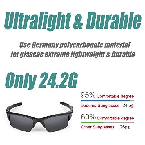 Duduma Polarisierte Sportbrille Sonnenbrille Fahrradbrille mit UV400 Schutz für Damen & Herren Autofahren Laufen Radfahren Angeln Golf TR90 (Grau Matt Rahmen mit Schwarz Linse) - 3
