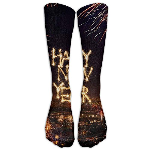 Jxrodekz Long Dress Socks Cotton Happy New Year Firework Soccer Comfortable Breathable Over-the-Calf Tube