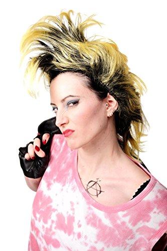 WIG ME UP - Perücke Faschingsperücke Karneval Punk Glam Vamp Mohawk Iro Auftoupiert Schwarz Neon Gelb PW0078-1-P103PC2B