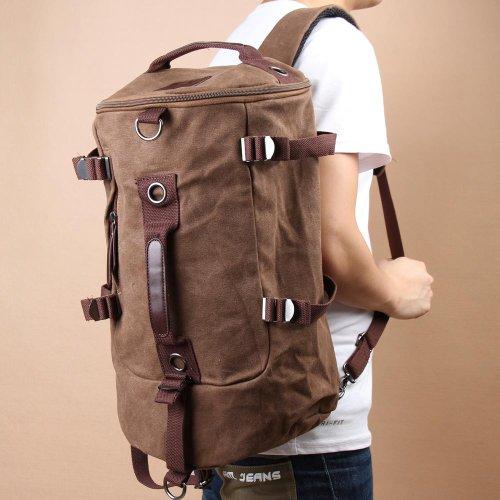Unterbrechen Herren Vintage Canvas Rucksack Rucksack Laptop Schulter Outdoor Duffle Bag, coffee, 450.00*340.00*30.00mm