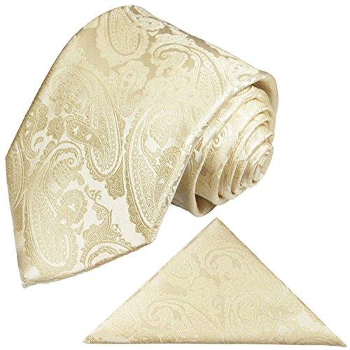 Paul Malone Krawatten Set 2tlg Krawatte + Einstecktuch champagner paisley Hochzeitskrawatte Bräutigam