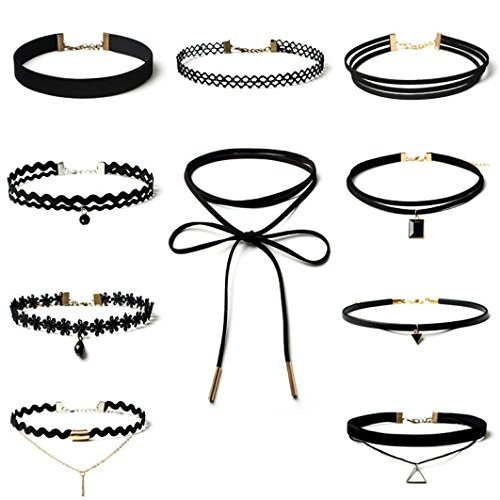 feitong-10-pieces-choker-necklace-set-stretch-velvet-classic-gothic-tattoo-lace-choker-10pieces