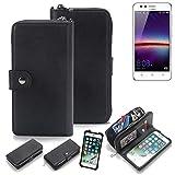 K-S-Trade 2in1 Handyhülle für Huawei Y3 II Dual-SIM Schutzhülle & Portemonnee Schutzhülle Tasche Handytasche Case Etui Geldbörse Wallet Bookstyle Hülle schwarz (1x)
