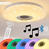 Runde LED Deckenleuchte Hemlo mit Sternen - inkl. RGB Farbwechsler und Bluetooth Lautsprecher - Deckenspot mit Fernbedienung und farbigem Licht - 3000 Kelvin - 1400 Lumen -