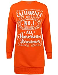 Sofias Closet Neon Bright Graphic Jumpers Fun California Dreams Pop Sweater USA Varsity