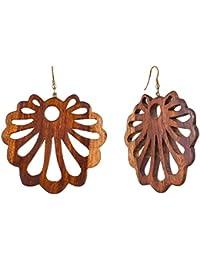 020483a913cb Aretes tibetanos de madera antigua tallada tribal africano de gran calibre  falso 3 pulgadas AB-