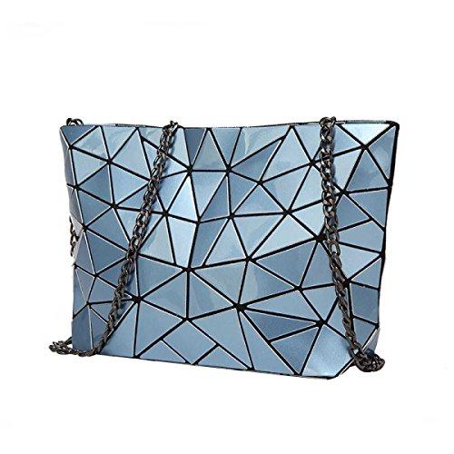 Signore Laser Rhombus Bag Pieghevole Geometrica Lingge Spalla Irregolare Bag Blue