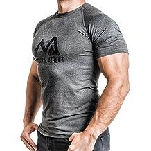 NATURAL ATHLET T-Shirt Fitness Herren tailliert Slip fit meliert kurzarm rundhals grau anthrazit olive