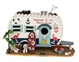 Bird House Nesting Box Caravan Wood Decoration Height 7.09
