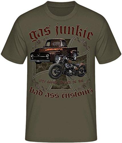 Free Biker Bad Ass Shirts Eagle Skull Milwaukee Motorcycle Motorrad Gas Junkie Customz oliv